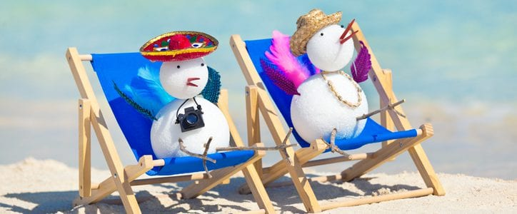 Two snowbirds enjoying the sunshine on a beach